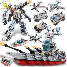 Huiqibao 1136 pçs 8in1 exército marinha navio de guerra cruzador blocos de construção militar navio avião tijolos cidade construção crianças brinquedos