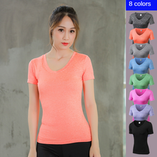 sleeveless yoga top gym shirt fitness t shirt dry workout top sports shirt ladies backless shirt small smock workout shirts for Female V-neck Women's Short Sleeve Fitness Running Quick Dry T-shirt Dress  Workout  Yoga Shirt Sexy Shirts Women Workout Top