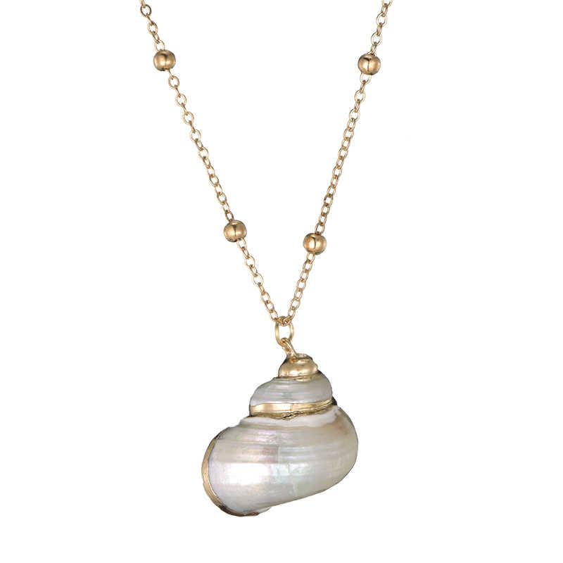 2019 Boho Conch Shell สร้อยคอ Shell Gold Shell สร้อยคอผู้หญิงเปลือกหอย Choker สร้อยคอจี้เครื่องประดับ Bohemian หญิง