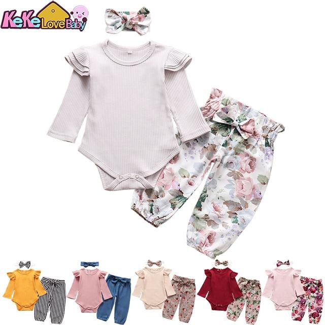 Baby Girls Long Sleeve Tops Flower Pants Headband Cute 3Pcs Toddler Clothing 1