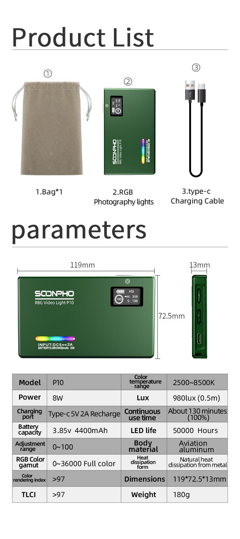 H07014fc6a82947b085ccbb85daa64bf8P soonpho RGB LED Camera Light Full Color Output Video Light Kit Dimmable 2500K-8500K Bi-Color Panel Light CRI 95+