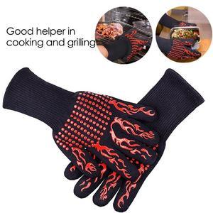 Image 5 - 2 шт. огнеупорные перчатки барбекю кевлар 500 градусов барбекю огнестойкий огнеупорный печь перчатки для теплоизоляция микроволновая печь