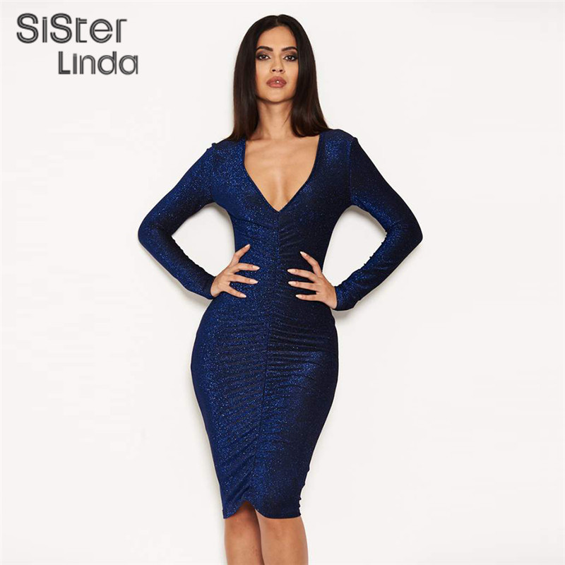 Retro Solid Bodycon <font><b>Dress</b></font> Women Autumn <font><b>Elegant</b></font> Warm <font><b>Long</b></font> Sleeve Party <font><b>Dress</b></font> 2019 New Hot <font><b>Sexy</b></font> V-Neck Low-cut Club Vestidos image