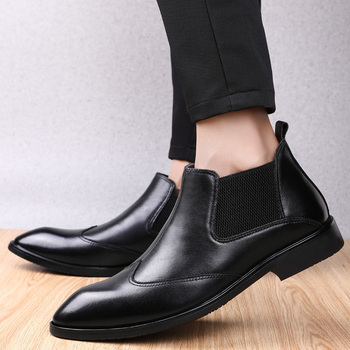 England style mens casual business office formal dress genuine leather shoes pointed toe chelsea boots gentleman ankle boot bota