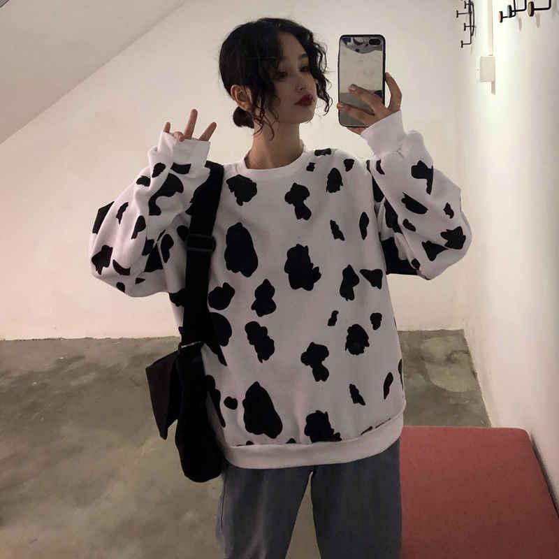 NiceMix 암소 귀여운 스웨터 긴 소매 셔츠 하라주쿠 스타일 느슨한 플러스 벨벳 풀오버 여성 가을을위한 따뜻한 탑 스웨터