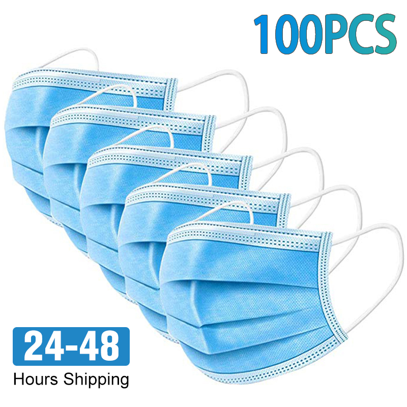 100PCS 3 Layer Non Woven Disposable Mask Anti Dust Bad Smell Face Gas Masks Protection Fabric Dust Protective Mask Mascarillas