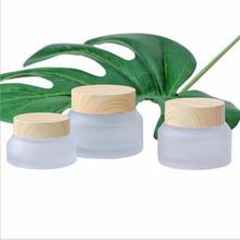 15 г наклонная стеклянная бутылка с крышкой деревянной формы для эссенции/крем для глаз/дневной и ночной крем/увлажняющая косметическая упаковка