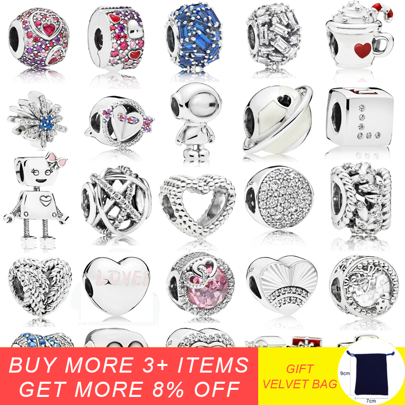 925 Sterling Silver Asymmetrical Hearts Pavé Charm With CZ Beads Fit Pandora Charms Bracelet DIY Jewelry Accessories