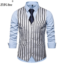 ZYFG free men Fashion striped suit vest Single-breasted design pattern Vest plus size smart casual style vests for