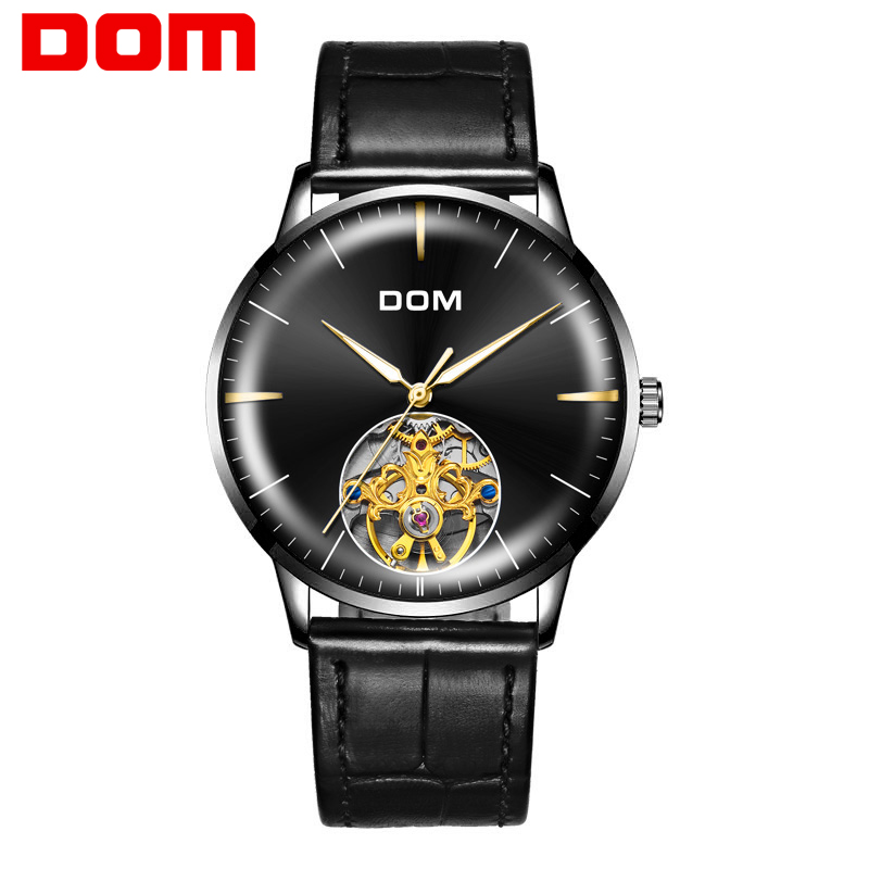 DOM Ultra-thin Simple Classic Men Mechanical Watches Business Waterproof Watch Luxury Brand Leather Automatic Watch M-1268BL-1M