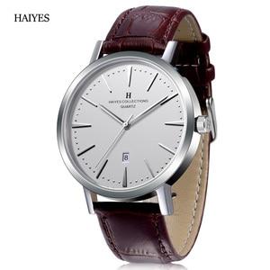 Image 1 - HAIYES mężczyźni oglądać luksusowe marki analogowe Auto data japonia ruch wodoodporne zegarki kwarcowe najlepszy prezent 2018 New Arrival zegarki
