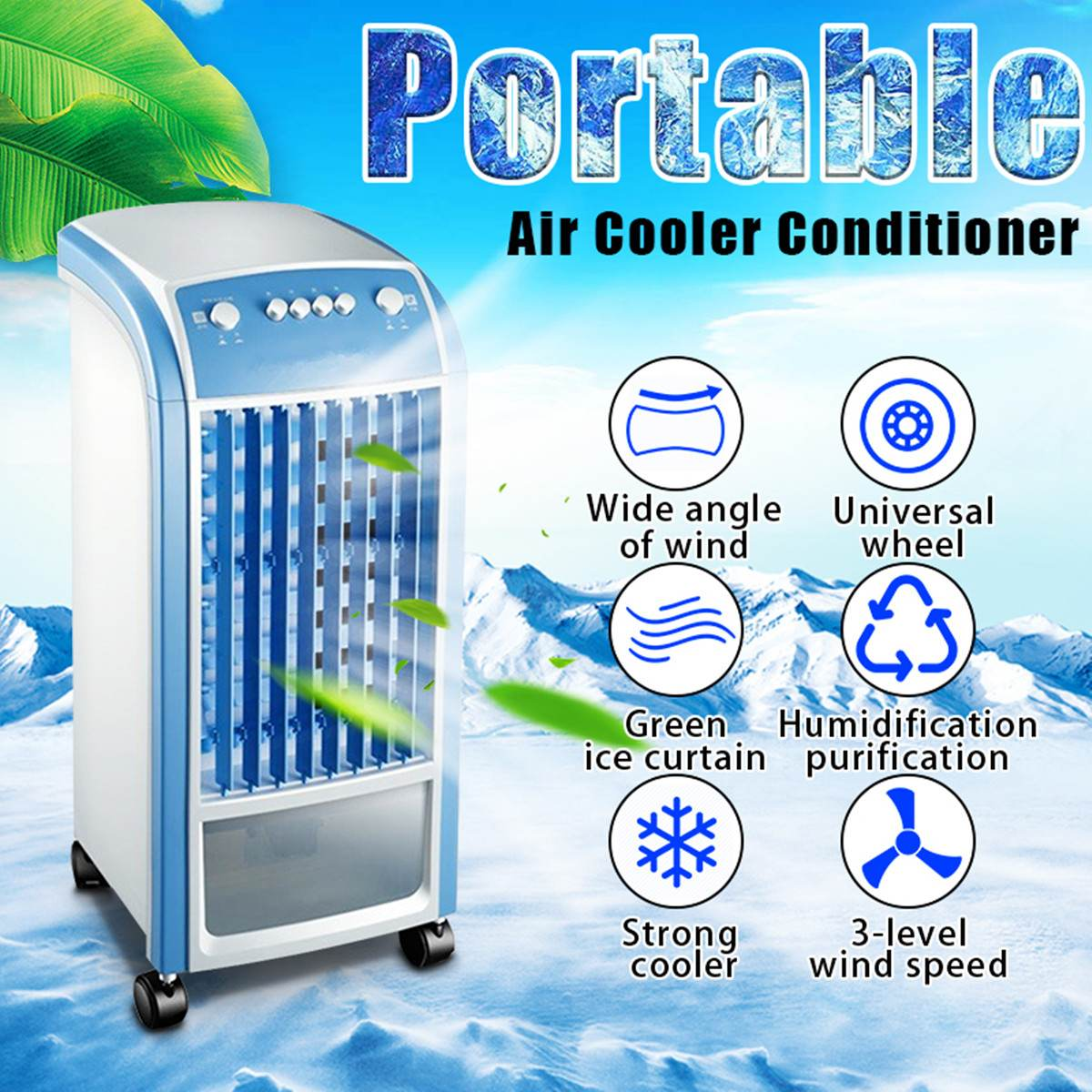Air Cooler Unit 4L 80W & Remote Control Flow Swing Conditioning Fan Home Evaporative Air Cooler Air Conditioning Fan
