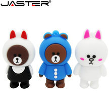 JASTER Marrom urso e coelho usb flash drive pen drive animais kony 4GB GB GB 32 16 8GB 64GB de flash memory stick cartão presentes encantadores(China)
