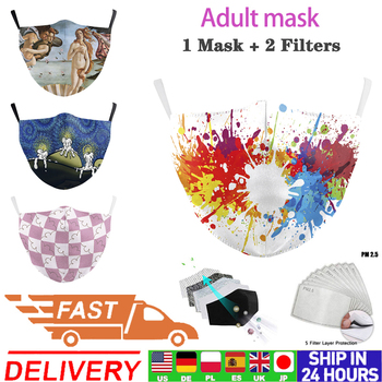 Face Mask Breathable Adult Fashion Filter PM2.5 Cotton Print Unisex Washable Reusable Fabric Adults Mouth Masks