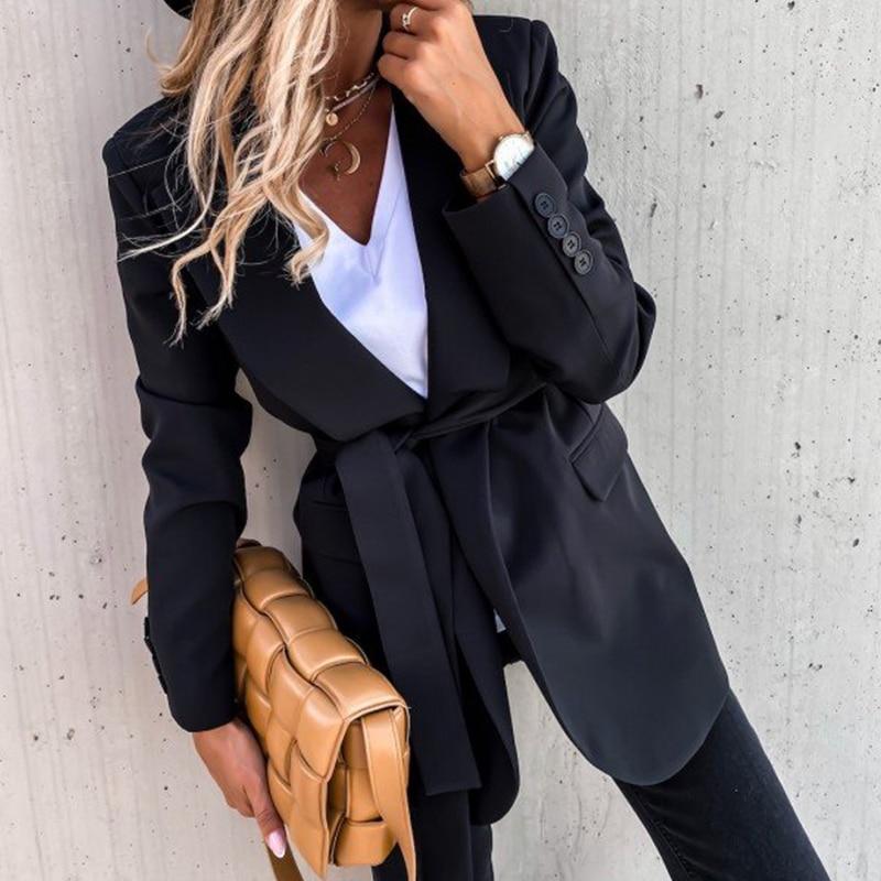 Autumn Lady Office Long Blazer Suit Coat For Women Elegant OL Black Blazer Sashes Jacket Winter New Fashion Blazers Fit Outwear