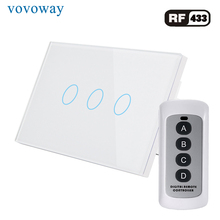 Vovoway US Glass panel touch switch,light switch,RF433 wireless control,wall poster,3 Gang AC110V 220V,Family wall stick