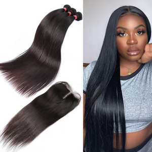 Rosabeauty 8-28 30 32 40 Polegada cabelo peruano em linha reta 3 4 tecer pacotes com 4x4 fechamento do laço frontal preplucked perucas de cabelo humano