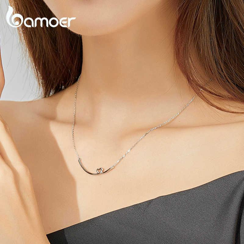 Bamoer hakiki 925 ayar gümüş gülümseme kalp kolye kadınlar için kısa kolyeler fransa tarzı 2020 modu yaka Bijoux SCN381