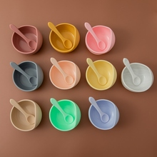 Kids Dishes Spoon Tableware Feeding-Set Baby Silicone Bowl Rotating-Bowl Spill-Proof-Suction