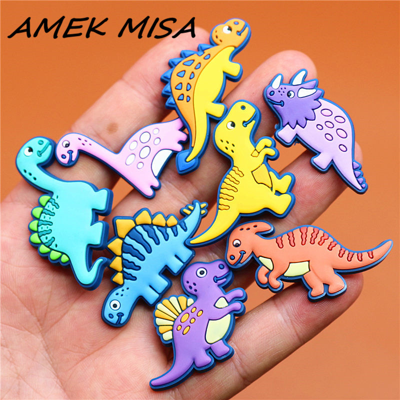 Single Sale 1pcs Shoe Charms Novel Dinosaur Shoe Accessories Cute Garden Shoe Decoration For Croc Jibz Buckle Kid's X-mas Gift