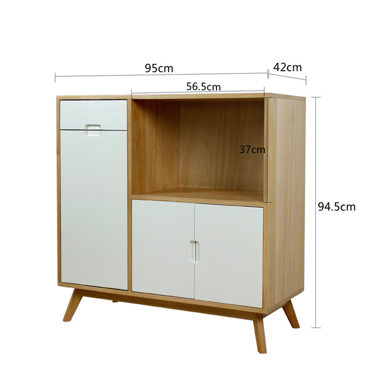 Scandinavian Minimalist Sideboards Cabinet Solid Wood Microwave Oven Tea Cabinet Multi-functional Kitchen Cabinet Storage Cabine