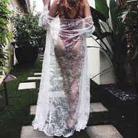 Hirigin Sexy Beach Cover Up Lace Long Sleeve Bikini Dress See Through Beachwear Boho White Black Summer Swimsuit