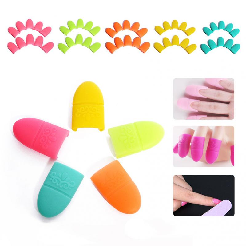 10Pcs/set Women Silicone Nail Polish Remover Soak Off Cap UV Gel Polish Remover Wrap Clip Nail Art Soaker Nail Cleaner Tools