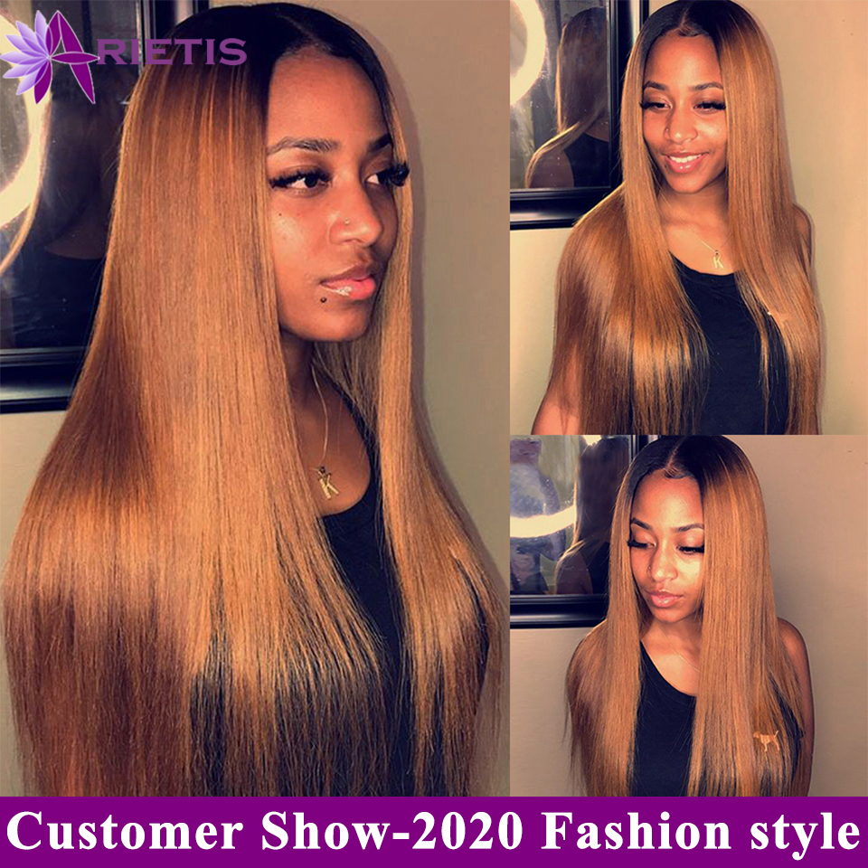 Arietis 1b/30 Colored Lace Front Human Hair Wigs Pre Plucked With Baby Hair For Women Brazilian Remy Straight Human Hair Wig