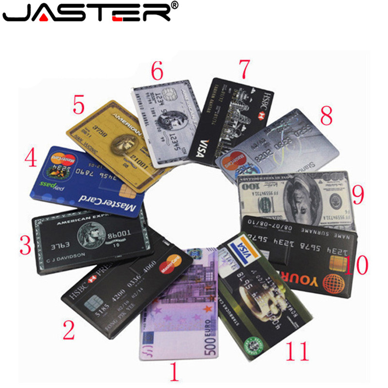 JASTER New Waterproof Super Slim Credit Card USB Flash Drive 64GB 32GB Pen Drive 4G 8G 16G Bank Card Model Memory Stick