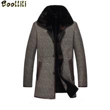Boollili Men #8217 s Leather Jacket Minus 40 Full Warm Fur Winter Jacket Sheepskin Coat Genuine Leather Coats Plus Size 4XL cheap COTTON Wool REGULAR Thick (Winter) Men s Leather Jacket Broadcloth Single breasted NONE Slim Button Solid Long 1 4KG Casual