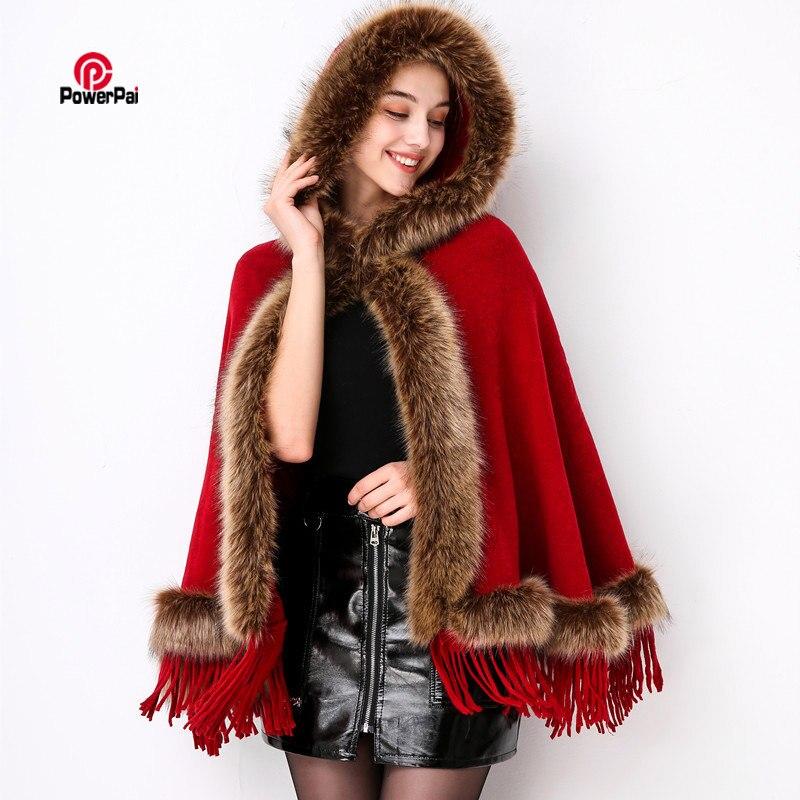 Fashion Faux Raccoon Fur Poncho Cape Hooded Coat Women Autumn Winter Knit Cashmere Cloak Shawl Tassels Pashmina retail wholesale