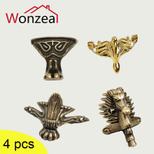 4PCS Antique Wooden Box Footings Golden Gift Box Decorative Feet Cabinet Protector For Furniture Hardware Wood Case Leg Corner