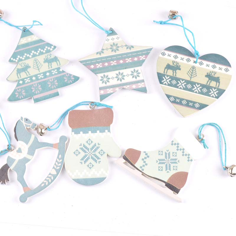 3 pçs linda pintura azul fatias de madeira pingente pendurado ornamentos presente para a árvore de natal natal artesanato decoração para casa m2529