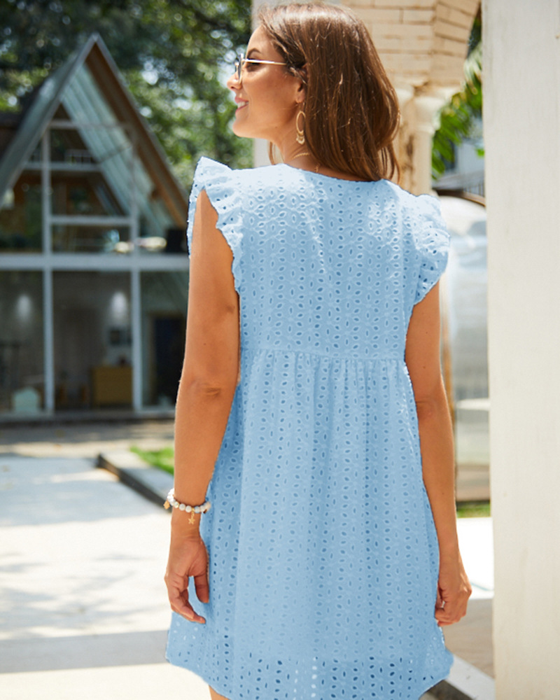 Solid Hollow Out  Short Dress Women New Sexy V Neck Butterfly Sleeve Hollow Lace Dress Casual Loose Summer Women Dress