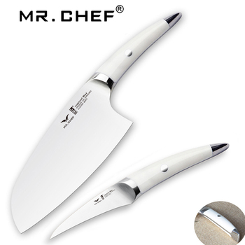 2pcs/set Professional Cleaver 7inch Cooking Tool knife set Kitchen Chefs Knives Meat Slicer Seafood kit German Steel abs handle