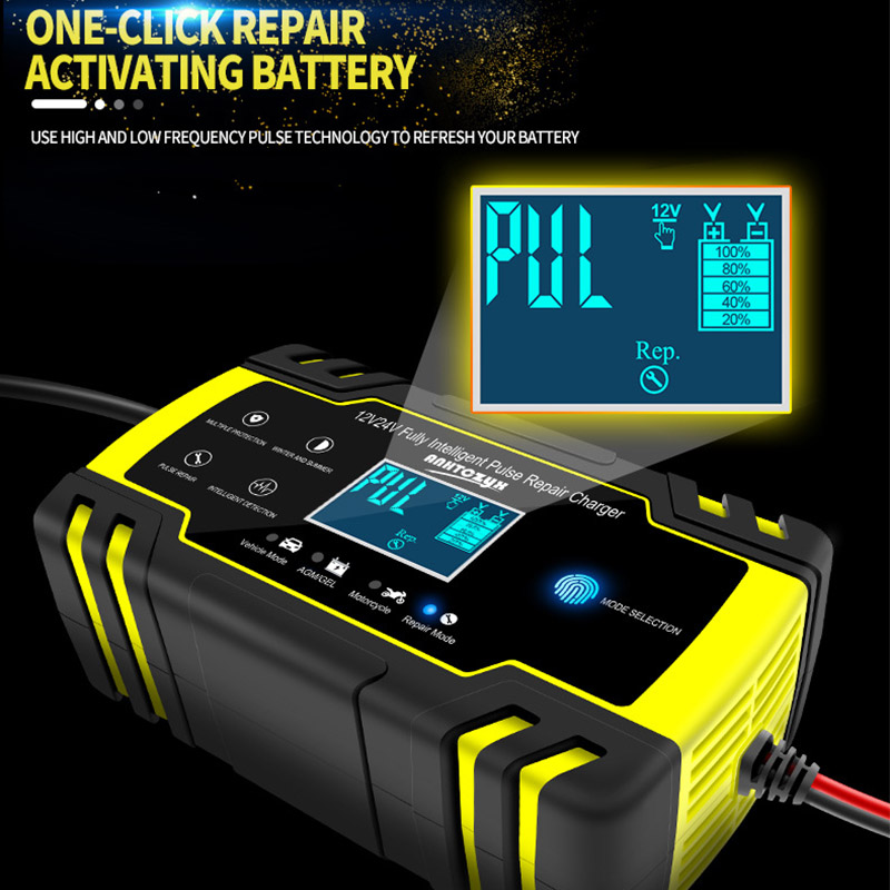 12V-24V 6-150Ah Full Automatic Car Battery Charger Power Pulse Repair Chargers Wet Dry Lead Acid Battery-chargers LCD Display