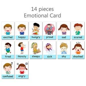 14 шт. Детские Обучающие карты Монтессори на английском языке, Детские Мультяшные флэш-карты, игрушки для детей, развивающие игрушки на памят...