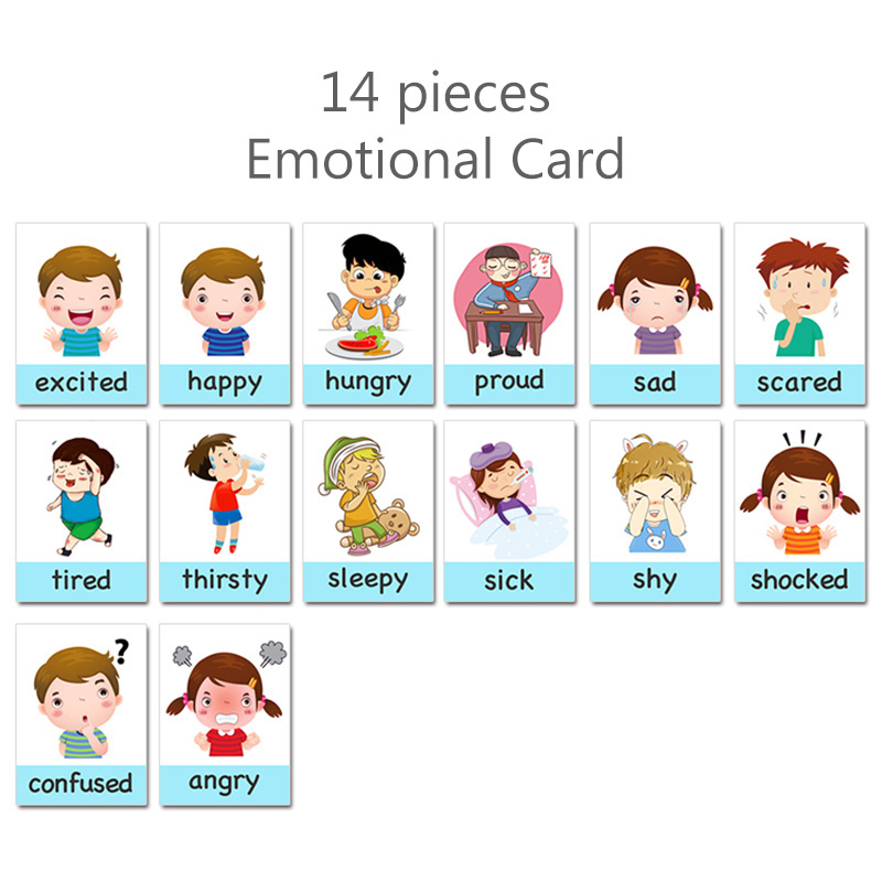 14pcs Montessori Baby English Learning Cards Cartoon Emotion Flash Card For Children Early Educational Toy Memory Game For Kids