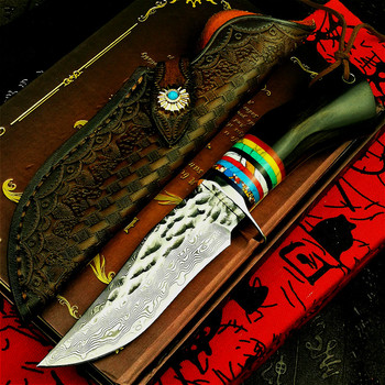 PEGASI Japan imports 67 layers of overlaid hammer damask steel high hardness straight knife hunting knife ebony tactical knife damascus steel outdoor tactical straight knife boutique collection knife high hardness self defense straight knife