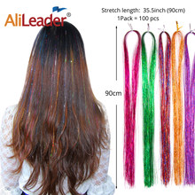 Alileader High Quality 600Strands Sparkle Hair Tinsel Bling Hair 12 Colors Decoration Highlights Party Wig For Girls Beauty Hair(China)