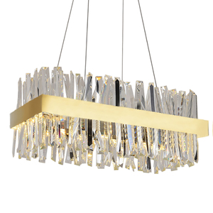 Image 5 - Luxury rectangle crystal chandelier lighting for dining room kitchen island lamps hanging modern chrome led chandeliers