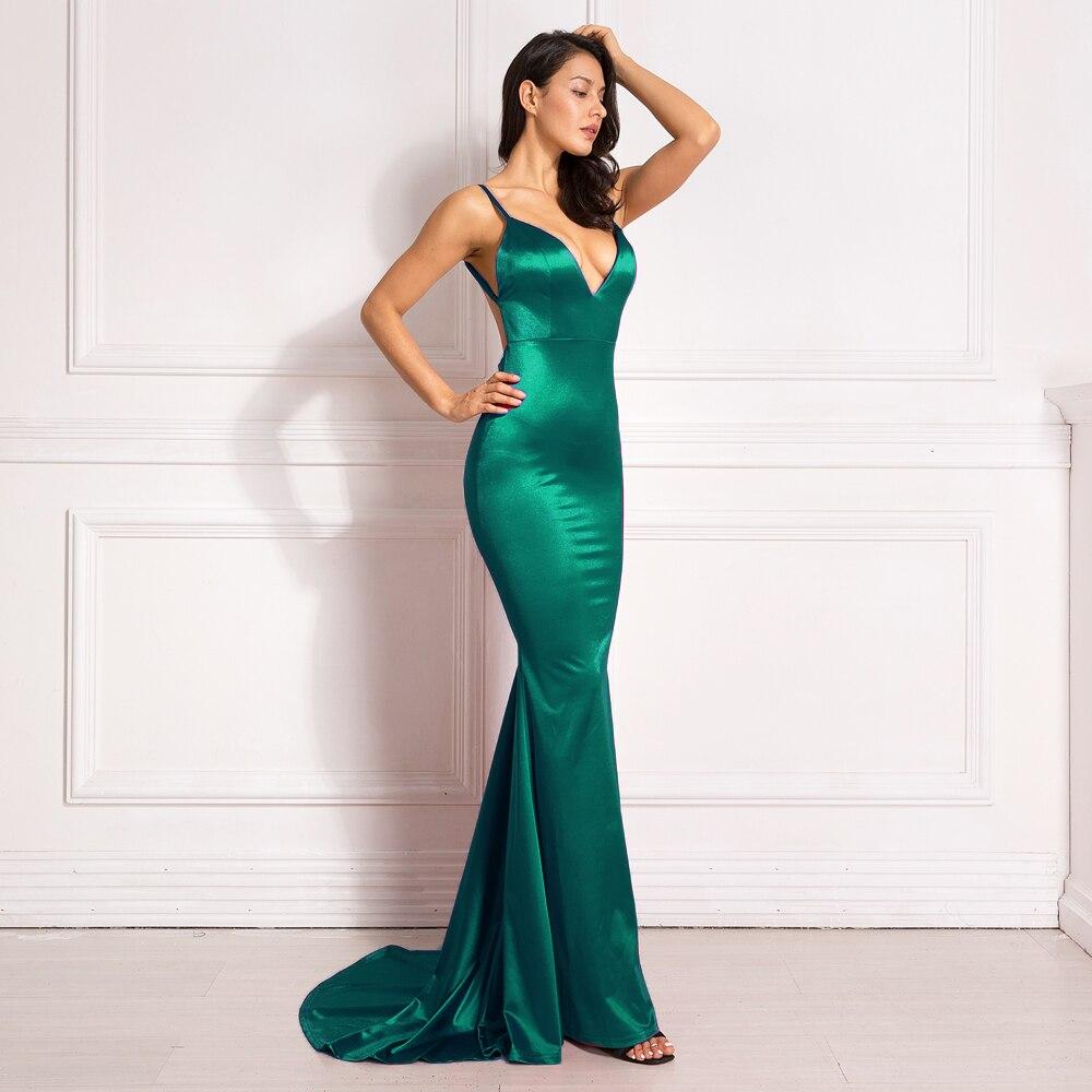 Deep V-Neck Burgundy Satin Mermaid Open Back Long Evening Dress 26