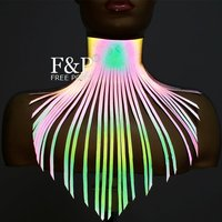 Rainbow Reflective Leather Long Fringe Choker Tassel Statement Necklace Burning Man Costume Gogo Dancer Halloween Accessories