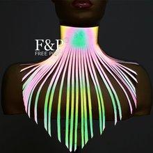 Rainbow Reflective Leather Long Fringe Choker Tassel Stateme