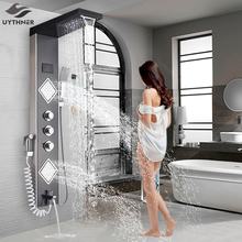 Uythner Luxury Brushed Nickle Bathroom Shower Faucet LED Shower Panel Column Bathtub Mixer Tap W/Hand Shower Temperature Screen