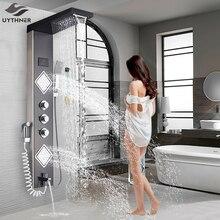 Uythner grifo de lujo para ducha de baño, níquel cepillado, columna de Panel de ducha LED, grifo mezclador de bañera con pantalla de temperatura para ducha de mano