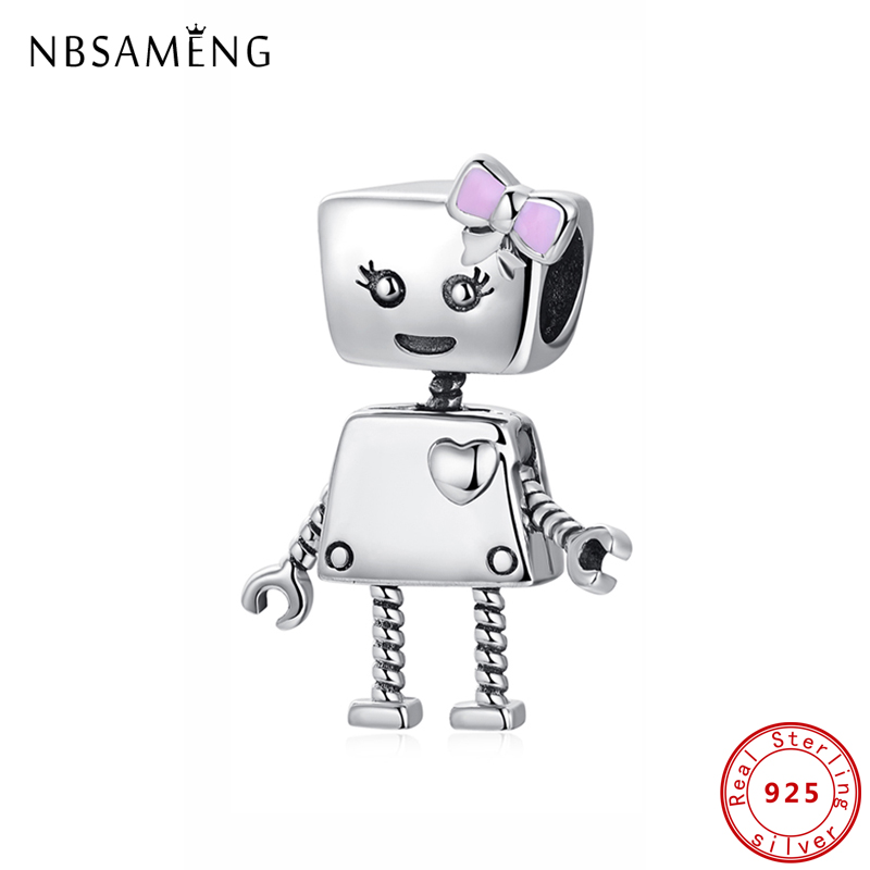 Original 925 Sterling Silver Charm Bead Love Heart Robot Pink Enamel Pendant Charms Fit Pandora Bracelets Women DIY Jewelry(China)