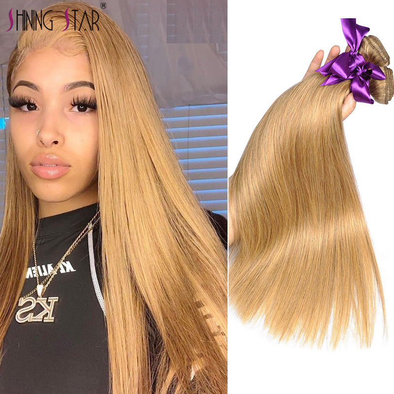 Honey Blonde Bundles Colored 27 Straight Human Hair Weave Bundles Blonde Peruvian Hair Weft Extension Shining Star Remy Hair