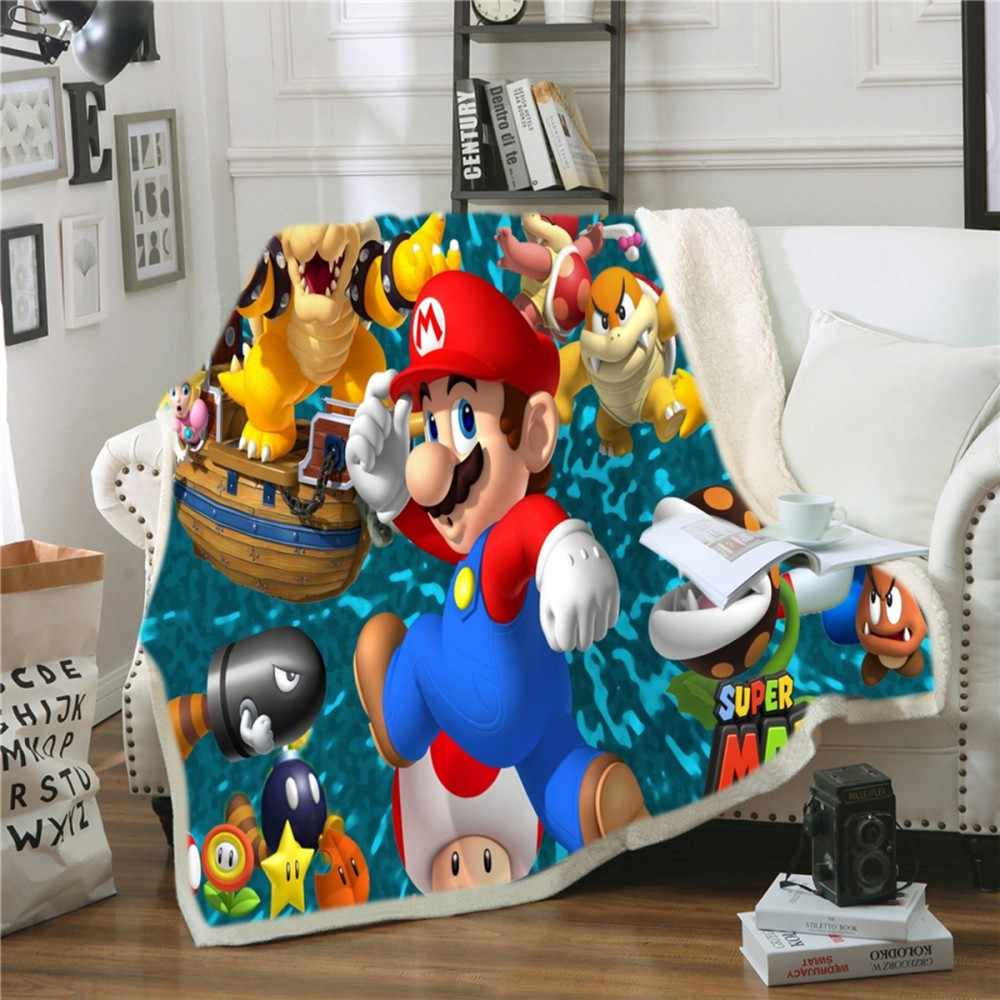 Super Mario Brothers Tortoise Throw Blanket Soft Sherpa Blanket Bed Sheet Single Knee Blanket Office Nap Blanket Colorful World