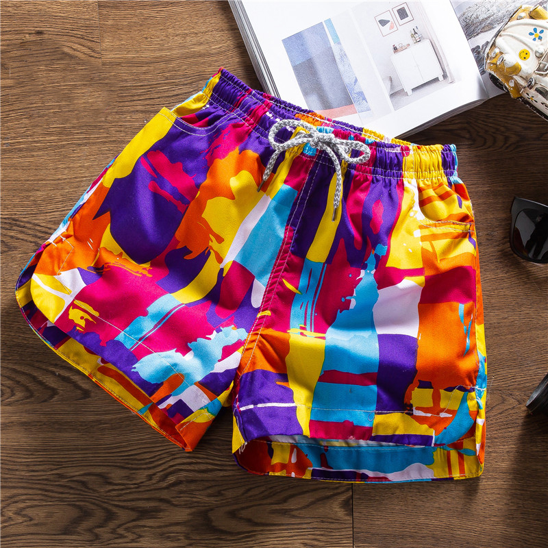 Women Beach Shorts Summer Beachwear Printed Quick Dry Swim Surfing Shorts Plus Size M-XXL